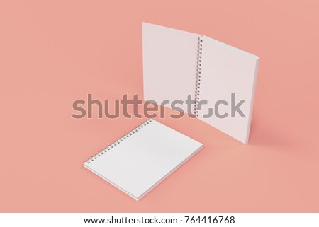 Opened and closed blank notebooks with white cover and metal spiral bound on red background. Business or education mockup. 3D rendering illustration