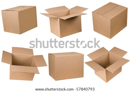 Opened and closed cardboard box isolated on white