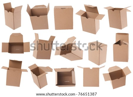 Opened and closed cardboard box isolated on white - stock photo