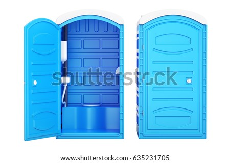 Opened and closed mobile portable blue plastic toilets, 3D rendering