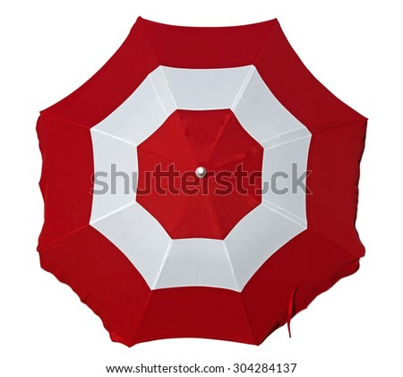 Opened beach umbrella with red and white stripes isolated on white. Top view. Clipping path included. #304284137