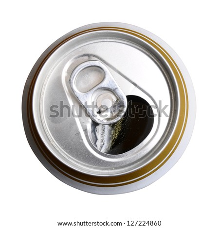 Opened Beer can isolated on white background by clipping path. Top view
