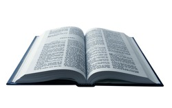 Opened Bible isolated on pure white background