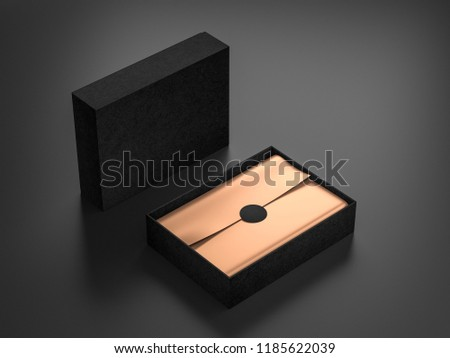 Opened Black Box Mockup with golden wrapping paper and label, 3d rendering