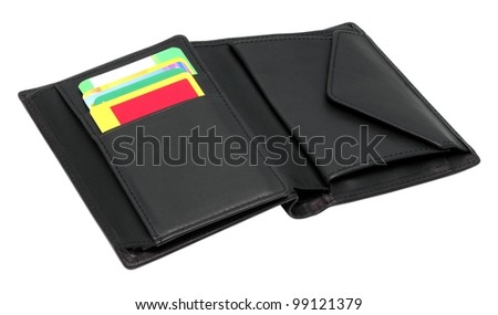 Opened black leather wallet with credit cards