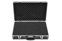 Opened black padded aluminum briefcase case with metal corners isolated on white background