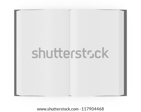Opened blank book or notebook, template, top view, isolated on white background.