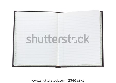 Opened blank log book isolated on white