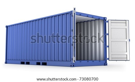 Opened blue freight container isolated on white background