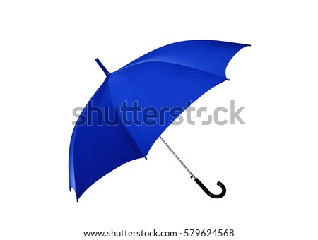 Opened blue umbrella isolated on white background. #579624568