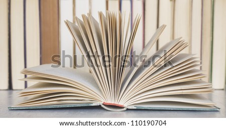opened book close up in a library