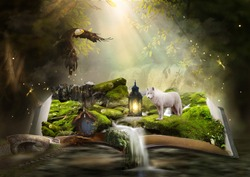 Opened book in a fantasy setting with animals, a little house, waterfall, magical sparkles.