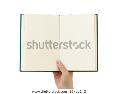 Opened book in hand isolated on white background