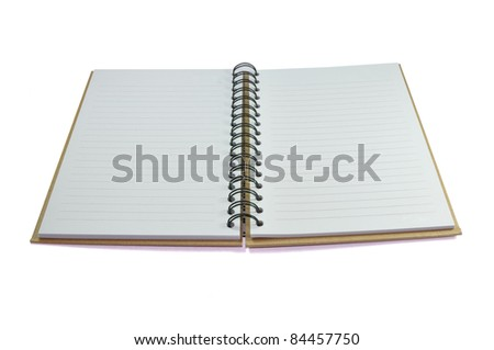 opened book of recycled paper on white background - stock photo