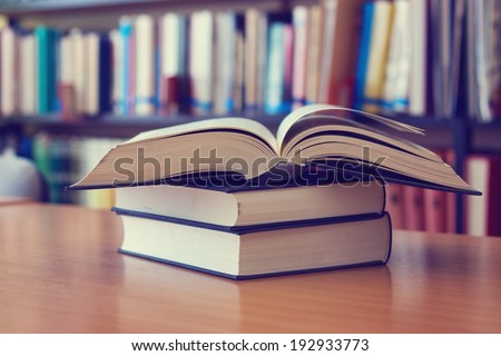 Opened book on the desk