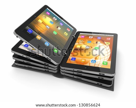 Opened book or folder from tablet pc. 3d