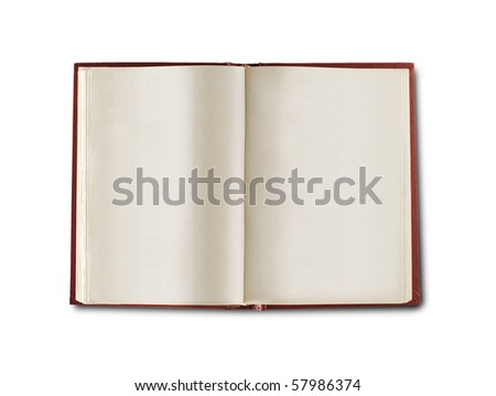 opened book with blank pages isolated over white background