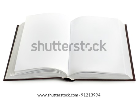 Opened book with blank pages on a white background
