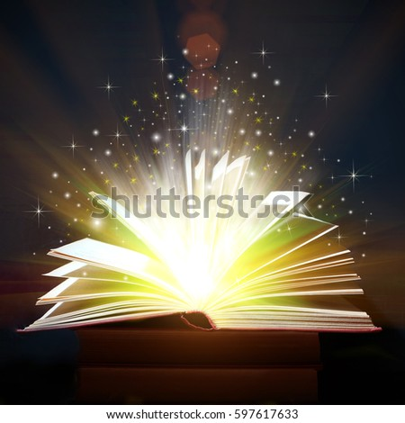 Opened Book With Magic Lights,  Magic Background #597617633