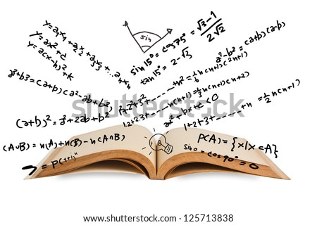Opened book with mathematics equations