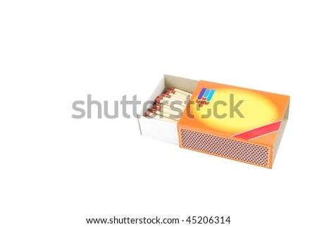opened box of red matches isolated on white background