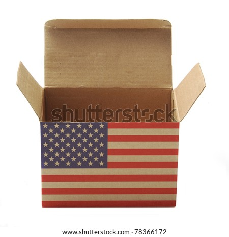 opened box with usa flag isolated on white background