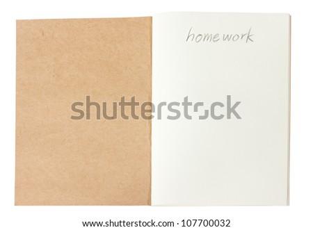 Opened brown notebook, school concept.