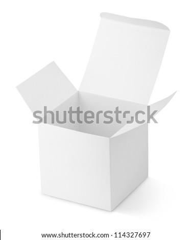 Opened cardboard box isolated on white background