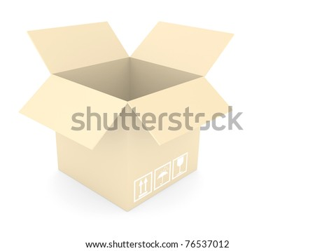opened cardboard box isolated on white background