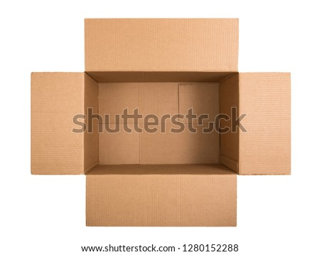 Opened cardboard box isolated on white background. Top view. Flat lay