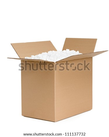 Opened cardboard container is filled with foam plastic, isolated, white background