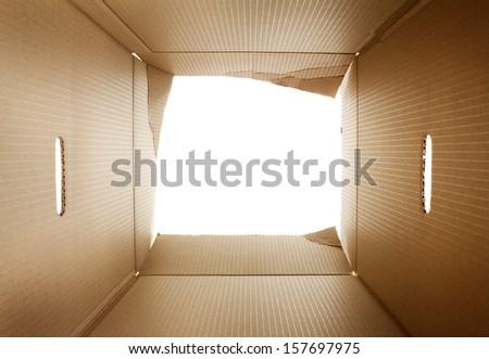Opened cardboard packaging box