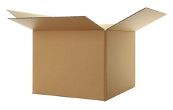 Opened cartoon box isolated on white