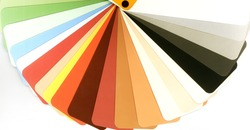 Opened color guide for architects and designers. Samples of colors for painting wall elements  in the interior and exterior of a building.