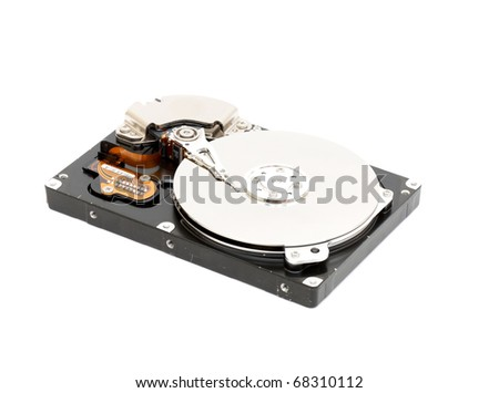 Opened computer hard disk on a white background