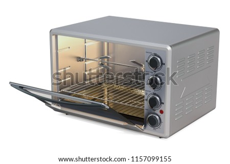 Opened Convection Toaster Oven with Rotisserie and Grill, 3D rendering isolated on white background