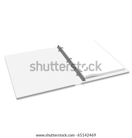 Opened d-angle binder on white background