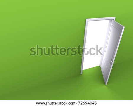 Opened door in the green wall, perspective view - stock photo