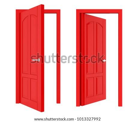 Opened Doors Isolated. 3D rendering
