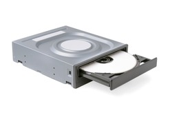 opened drive CD - DVD - Blu Ray with a black cap and white disk on a white background, CD-ROM, DVD-ROM, BD-ROM