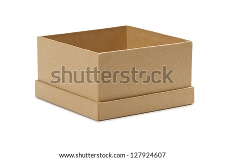 Opened empty cardboard box with lid off on white background