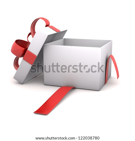Opened empty gift carton on the white background.