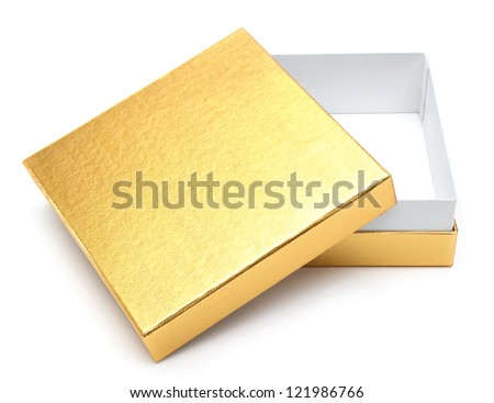 Opened empty gold gift box on a white background