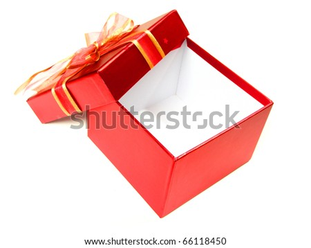 Opened empty red gift box with copy space, lid, and bow on a white background
