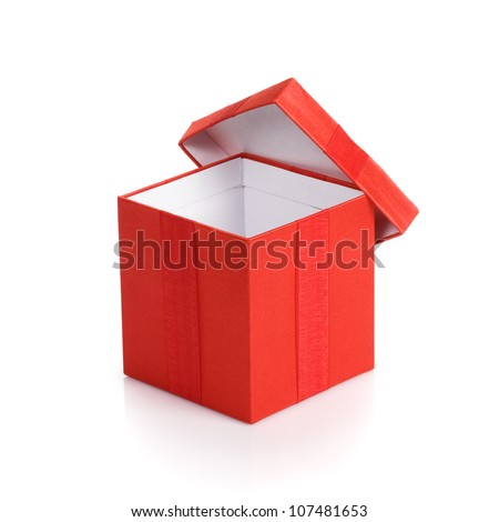 Opened empty red gift box with lid on white background