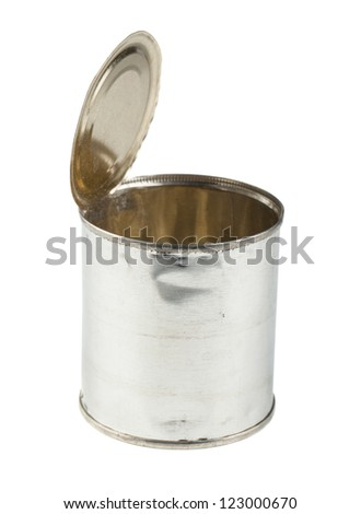 Opened empty tin can isolated on a white background