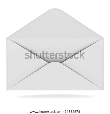Opened envelope isolated on white background with shadow
