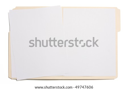 Opened file folder with white paper in it.