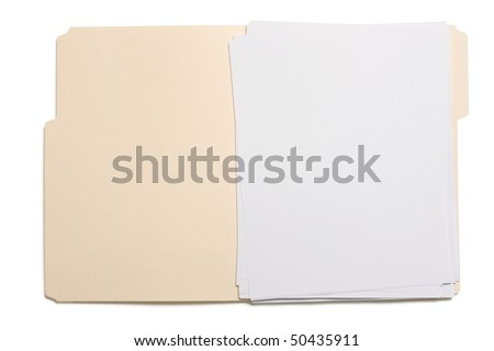 Opened file folder with white paper inside.