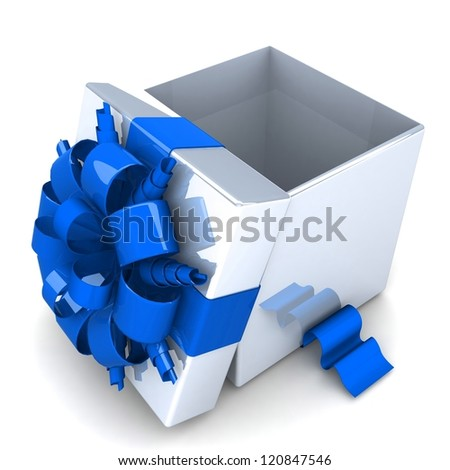 opened gift box, with a ribbon like a present. over white background 3d illustration.